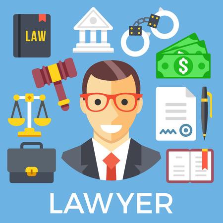 jurisprudencia: de conjunto del sistema judicial del abogado y los iconos. La jurisprudencia, el sistema de justicia de menores, iconos de abogados Vectores