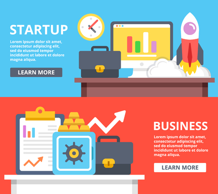 startup: Startup, business web banners set. Creative flat illustrations and flat design elements