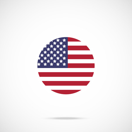 state: American flag round icon. US flag icon with accurate official color scheme