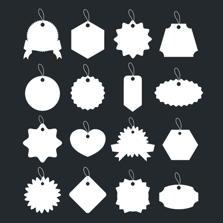 gefesselt: Weiß Preisschilder mit verknotet Seile, leere Geschenk-Etiketten, Verkauf Etiketten, Geschenkkarten-Set Illustration