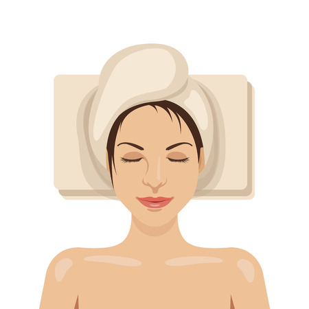spa therapy: Woman with towel on her head is lying. Spa therapy, beauty services concepts. Vector illustration