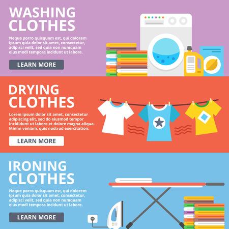 Washing clothes, drying clothes, ironing clothes flat illustration set