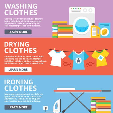 Washing clothes, drying clothes, ironing clothes flat illustration set