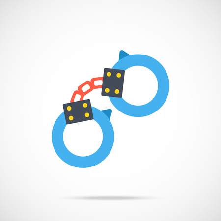restraint device: Vector handcuffs icon. Modern flat design vector illustration Illustration