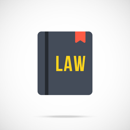 law library: Vector law book icon. Modern flat design vector illustration