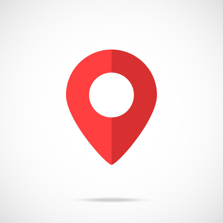 geolocation: Vector map pointer, map pin icon. Modern flat design vector illustration