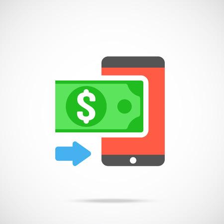 method: Vector money and smartphone icon. Modern flat design vector illustration