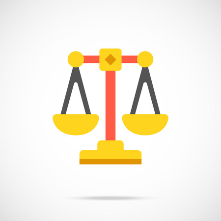 justice court: Vector justice scales icon. Modern flat design vector illustration