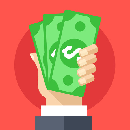 hand hold: Hand holding cash flat illustration. Investment, marketing, withdrawal concepts