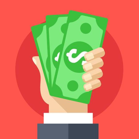 show bill: Mano que sostiene el dinero en efectivo ilustraci�n plana. De inversi�n, marketing, conceptos de abstinencia Vectores