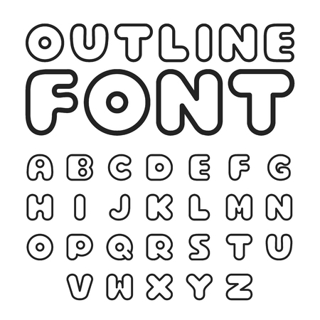 serif: Outline font. Round shaped sans serif linear font. Modern line vector font Illustration