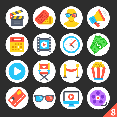 corne: Round flat icons for web sites, mobile apps, web banners, infographics. High quality design illustrations. Entertainment, cinema, movie production, cinema concepts. Modern vector icons set 8 Illustration