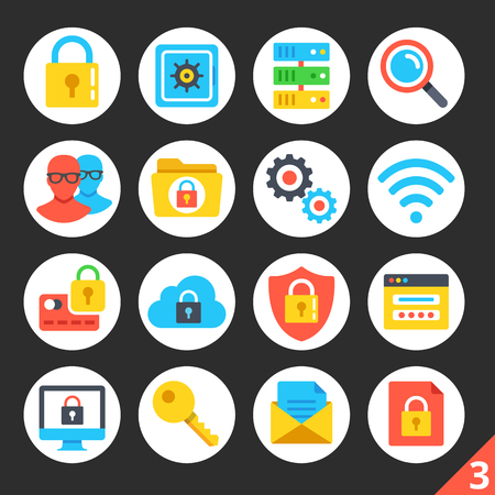 security: Round flat icons for web sites, mobile apps, web banners, infographics. High quality design illustrations. Internet security, network protection concepts. Modern vector icons set 3