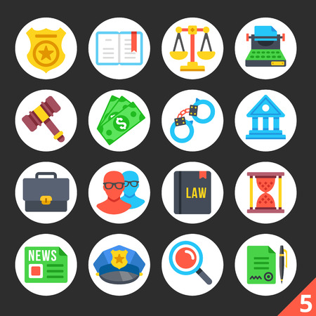 prosecutor: Round flat icons for web sites, mobile apps, web banners, infographics. Premium quality design illustrations. Law, police, justice concepts. Modern flat vector icons set 5