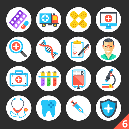 Round flat icons for web sites, mobile apps, web banners, infographics. Premium quality design illustrations. Medicine, healthcare, treatment, science concepts. Modern flat vector icons set 6 版權商用圖片 - 55399323