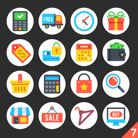retail shopping: Round flat icons for web sites, mobile apps, web banners, infographics. High quality design illustrations. Shopping, consumption, ecommerce, retail trade concepts. Modern vector icons set 7