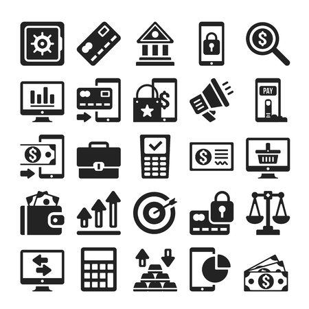 Comerciales y bancarias de conjunto de iconos