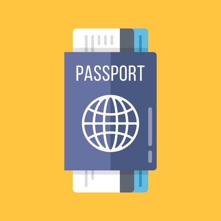 ides: Passport and airline tickets flat illustration. Blue passport and boarding pass