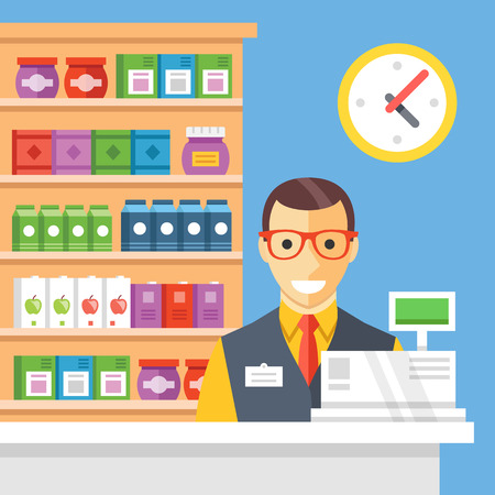 supermarket checkout: Supermarket checkout and cashier. Flat vector illustration Illustration