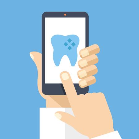 Dłoń trzymająca smartphone z aplikacją dentystyczną na ekranie. Płaski projektowania ilustracji wektorowych