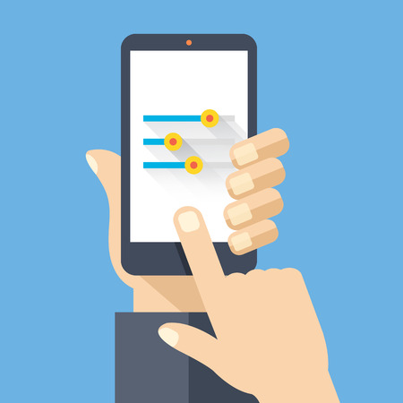 settings: Hand holding smartphone with settings screen. Flat design vector illustration Illustration