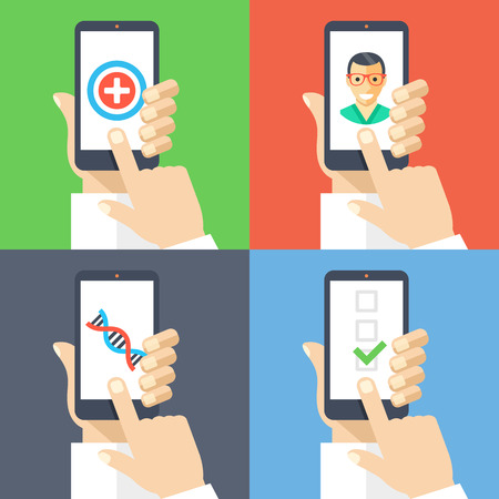 health icons: Hands with smartphones 4 banners set. Medicine, healthcare, online doctor, call ambulance, diagnosis, medical insurance concepts Illustration