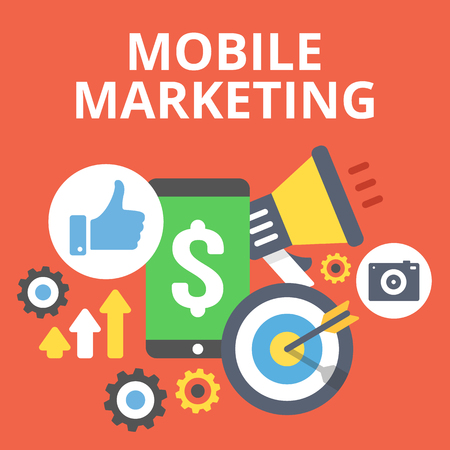 mobile marketing: Mobile marketing flat illustration