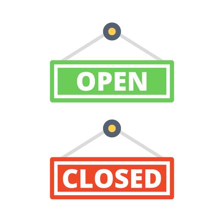 door sign: Open door sign and closed door sign set