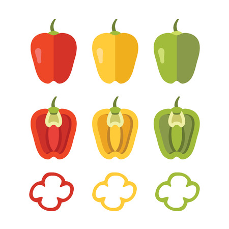 red pepper: Colorful peppers set