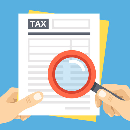 tax: Tax form review with magnifier glass. Financial audit, tax season, data analysis, financial report. Flat vector illustration