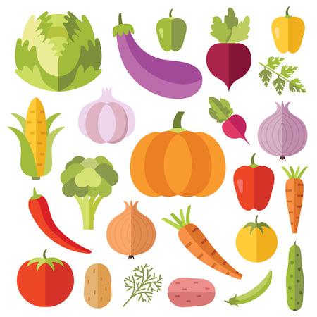 Groenten vlakke pictogrammen instellen. Creatieve kleurrijke plat ontwerp vector illustraties Stock Illustratie
