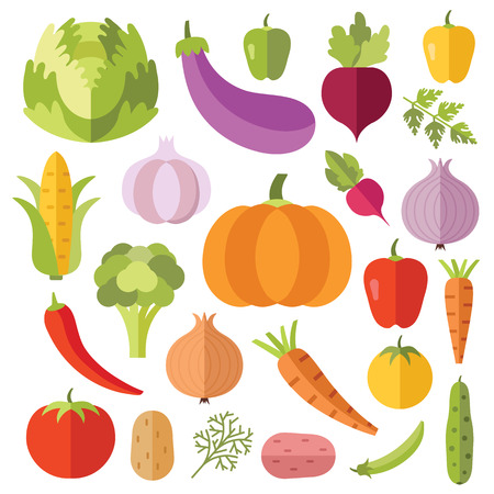 Vegetables flat icons set. Creative colorful flat design vector illustrations