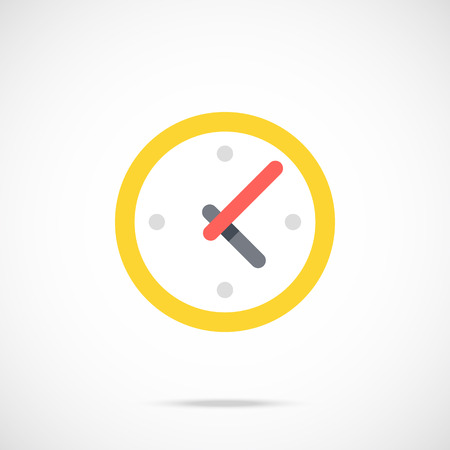 business time: Clock flat icon. Time, working day, business hours concept. Vector illustration Illustration