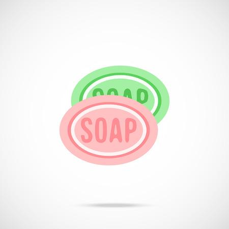 bar of soap: Bar soap flat icon. Vector illustration