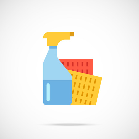 disinfect: Spray bottle and sponge cloth flat icon. Vector illustration
