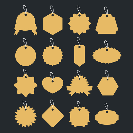 clothing tag: Vintage gold badges set. Retro labels, paper clothing tag shapes. Vector illustration isolated on black background