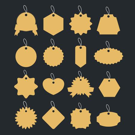 paper tag: Vintage gold badges set. Retro labels, paper clothing tag shapes. Vector illustration isolated on black background