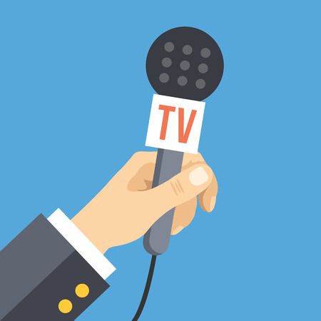 anchorman: Hand with microphone. News, interview, press conference, live event flat concept. Vector illustration
