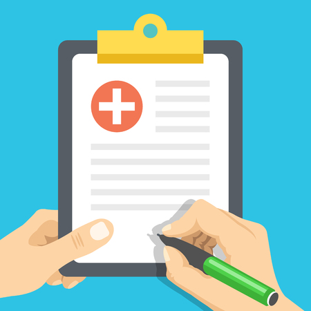 Hands with pen and medical clipboard. Clinical record, medical report flat concept. Vector illustration