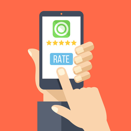 hand phone: Rate our app flat concept. Hand holds smartphone with 5 stars and rate button on phone screen. Vector illustration
