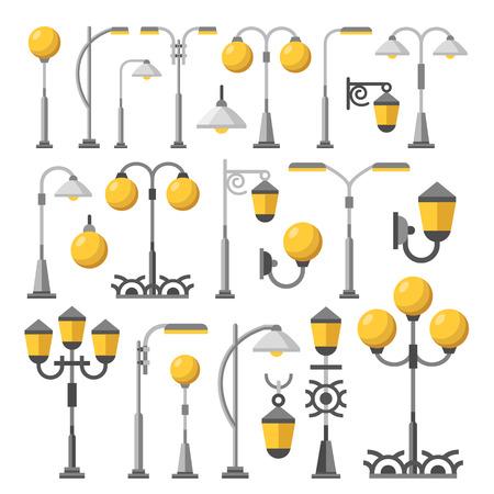 outdoor lights: Street light set. Outdoor post lights, lamps, street lanterns, city elements collection. Flat design concept vector illustration