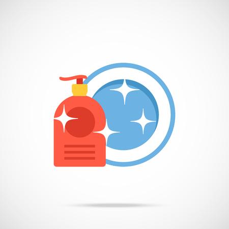 washing dishes: Dishwashing liquid bottle and plate flat icon. Washing dishes concept. Vector illustration Illustration