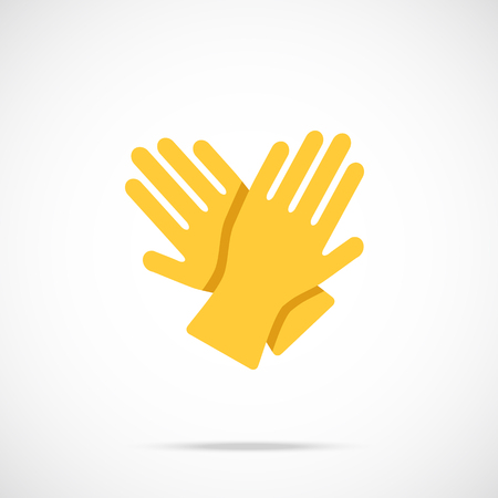 rubber glove: Yellow cleaning gloves flat icon. Vector illustration Illustration