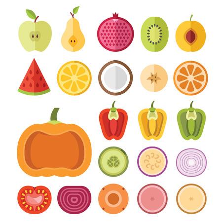 green pepper: Fruits and vegetables slices set Illustration