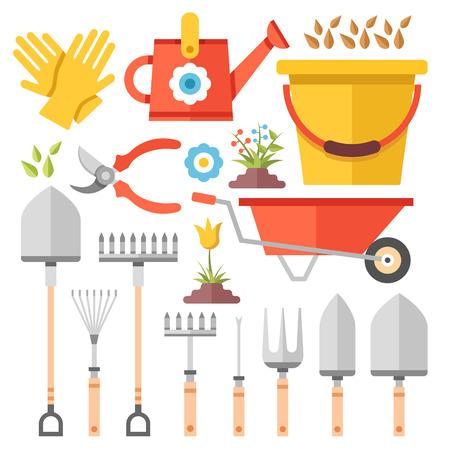 gardening work: Gardening work tools flat icons set