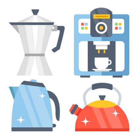 aluminum: Tea kettle, tea pot, classic vintage aluminum coffee maker and shiny modern coffee machine flat illustration, flat icons set