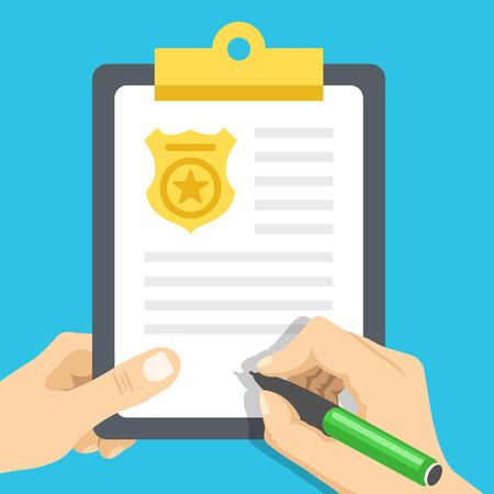 Police report. Traffic, parking fine, citation, crime report, problems with police, subpoena concepts. Flat illustration Illustration