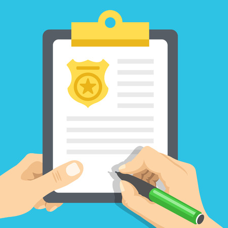 Police report. Traffic, parking fine, citation, crime report, problems with police, subpoena concepts. Flat illustration Vectores