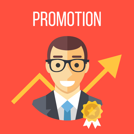 Job promotion flat illustration. Career ladder, advance in office, job development, promotion at work concepts