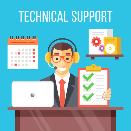 support agent: Technical support specialist at work. Call center agent in his office.